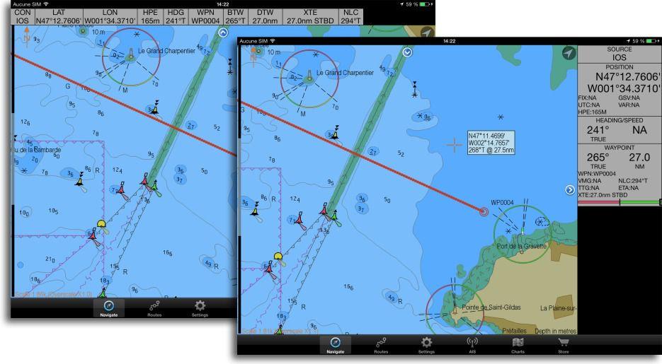 Cartes ENC S-57 dans SEAiq sur iPad