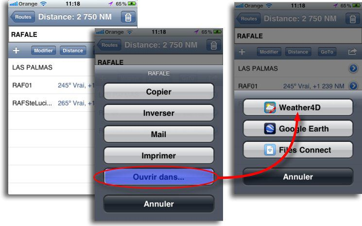 Transfert de la route iNavX vers Weather4D