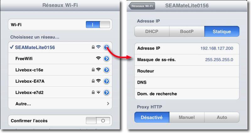 réglages wifi iOS